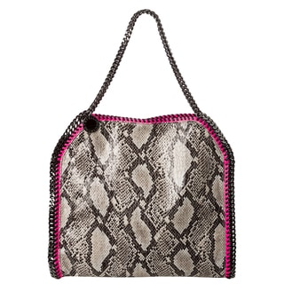 Stella McCartney 'Baby Bella' Grey Python Printed Tote with Pink Trim