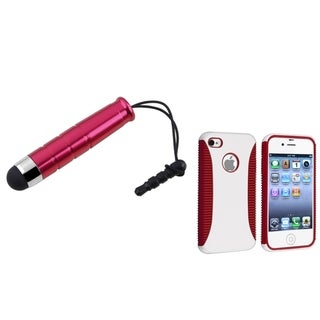 BasAcc Red/ White Hybrid Case/ Mini Stylus for Apple iPhone 4/ 4S