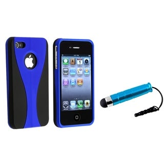 BasAcc Blue/ Black Case/ Mini Stylus for Apple iPhone 4/ 4S