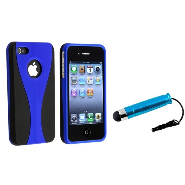 BasAcc Blue/ Black Case/ Mini Stylus for Apple iPhone 4/ 4S