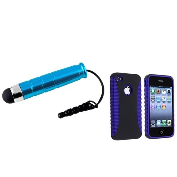 BasAcc Blue/ Black Hybrid Case/ Stylus for Apple iPhone 4/ 4S
