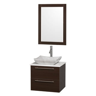 Wyndham Collection 'Amare' 24-inch Espresso/ White Top/ Marble Sink Vanity Set