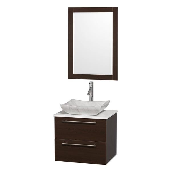 Wyndham Collection 'Amare' 24-inch Espresso/ White Top/ Marble Sink Vanity Set