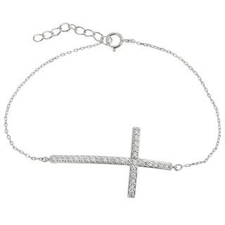 Tressa Collection Sterling Silver Cubic Zirconia Cross Bracelet