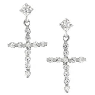 Journee Collection Sterling Silver Cubic Zirconia Cross Drop Earrings