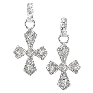 Tressa Collection Sterling Silver Cubic Zirconia Cross Drop Earrings