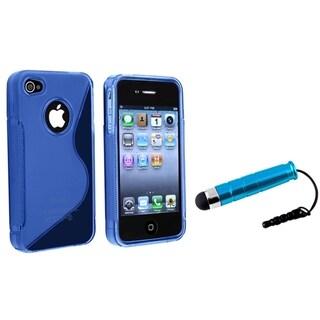 INSTEN Clear Dark Blue TPU Phone Case Cover/ Mini Stylus for Apple iPhone 4/ 4S
