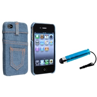 BasAcc Light Blue Jean Rear Case/ Mini Stylus for Apple iPhone 4/ 4S