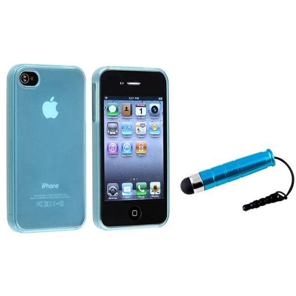 INSTEN Frost Blue TPU Phone Case Cover/ Blue Stylus for Apple iPhone 4/ 4S