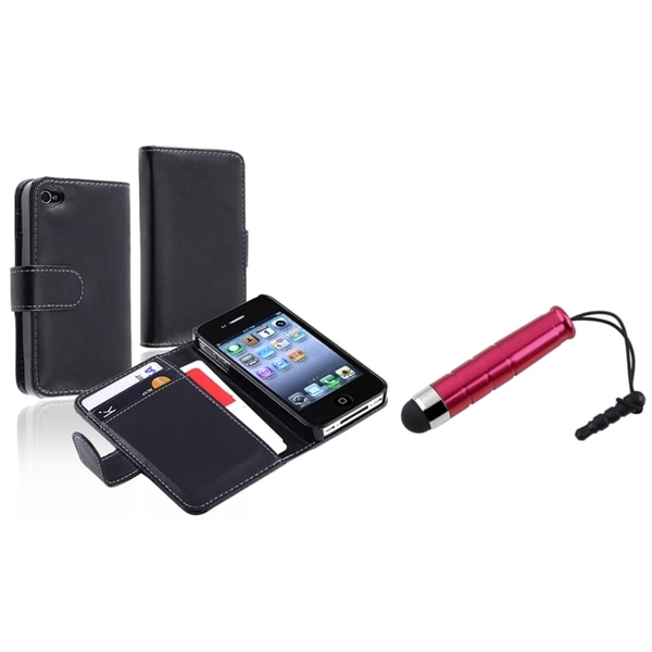 INSTEN Leather Wallet Phone Case Cover/ Stylus for Apple iPhone 4/ 4S