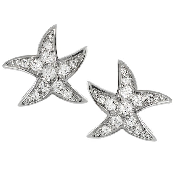 Journee Collection Sterling Silver Cubic Zirconia Starfish Stud Earrings