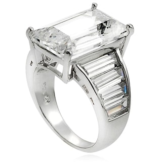 Journee Collection Sterling Silver CZ Celebrity-inspired Bridal-style Ring