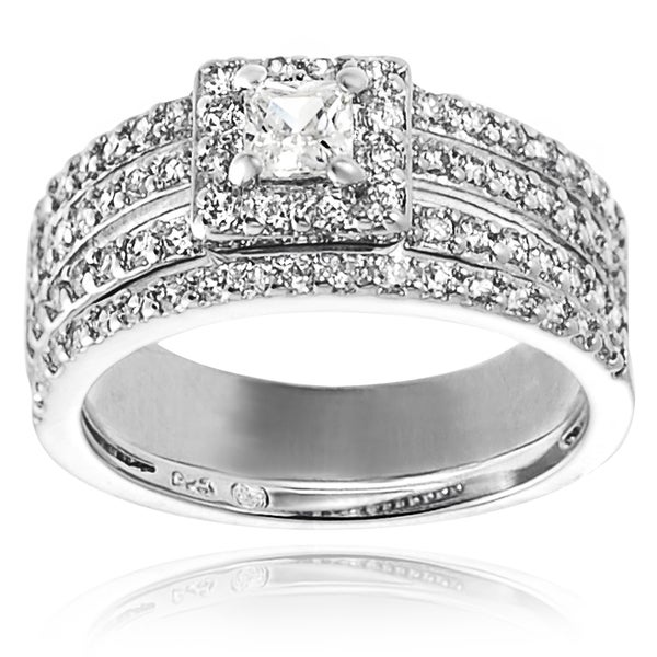 Journee Collection Sterling Silver Square-cut Cubic Zirconia Bridal-style Ring Set