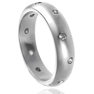 Tressa Sterling Silver Clear Cubic Zirconia Engagement-style Band Ring