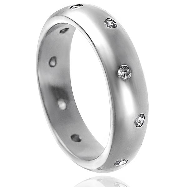 Journee Collection Sterling Silver Cubic Zirconia Engagement-style Band Ring