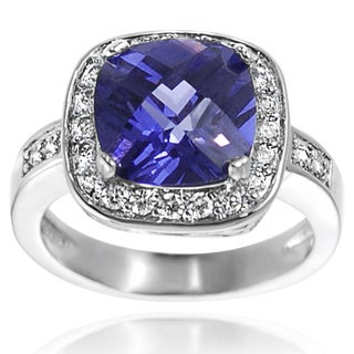 Tressa Sterling Silver Purple Cubic Zirconia Engagement-style Ring