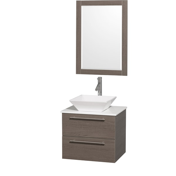 Wyndham Collection 'Amare' 24-inch Grey Oak/ White Top/ Porcelain Sink Vanity Set