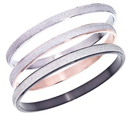 Plated Stainless Steel Diamond-cut Stackable Bangle