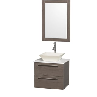 Wyndham Collection 'Amare' 24-inch Grey Oak/ White Top/ Bone Sink Vanity Set