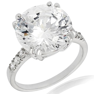 Tressa Sterling Silver White Basket-set Cubic Zirconia Engagement-style Ring