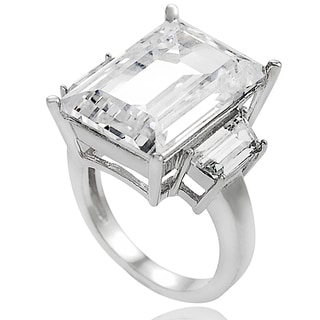 Tressa Sterling Silver Emerald-cut Cubic Zirconia Celebrity-inspired Bridal-style Ring