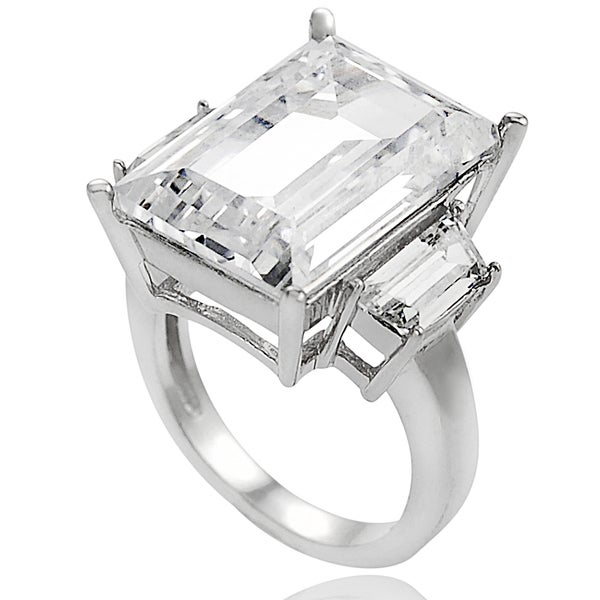 Journee Collection Sterling Silver Emerald-cut Cubic Zirconia Celebrity-inspired Bridal-style Ring