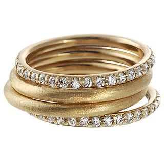 Tressa 18K Goldplated Sterling Silver Cubic Zirconia 4-piece Ring Set