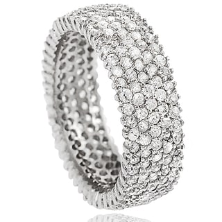 Tressa Sterling Silver Cubic Zirconia Engagement-style Band (7 mm)