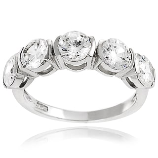Tressa Sterling Silver White Round Basket-set Cubic Zirconia Engagement-style Ring
