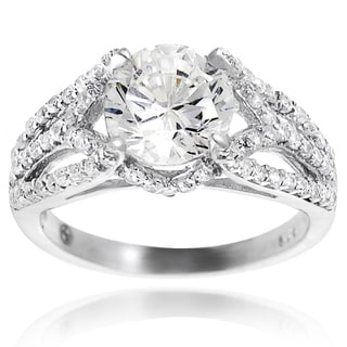 Tressa Sterling Silver Round-cut Cubic Zirconia Engagement-style Ring