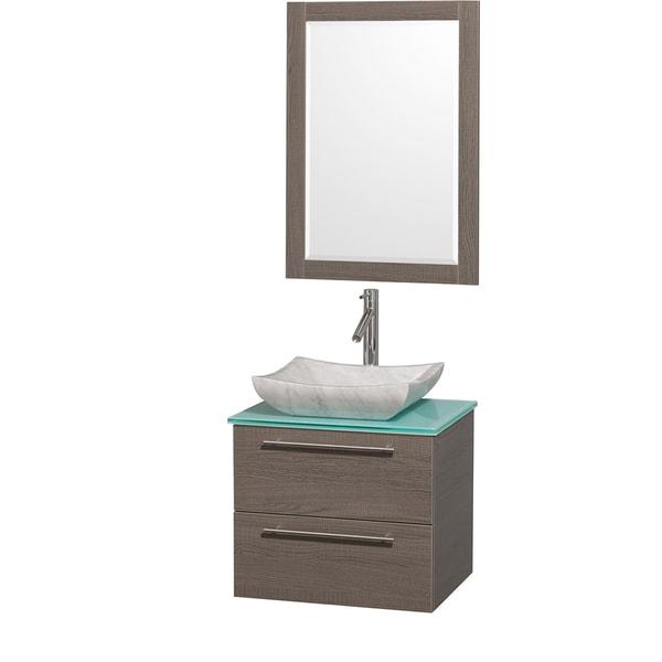 Wyndham Collection 'Amare' 24-inch Grey Oak/ Green Top/ Carrera Marble Sink Vanity Set