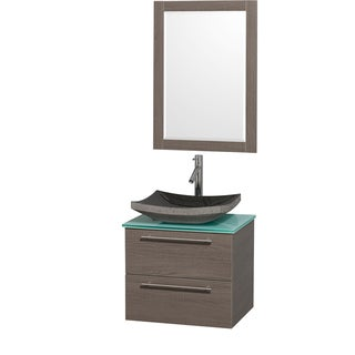 Wyndham Collection 'Amare' 24-inch Grey Oak/ Green Top/ Granite Sink Vanity Set