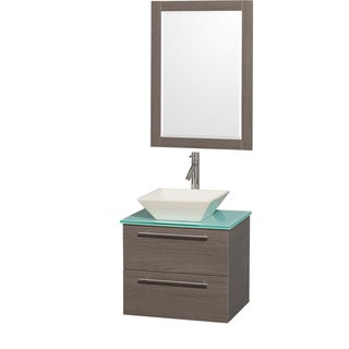 Wyndham Collection 'Amare' 24-inch Grey Oak/ Green Top/ Bone Sink Vanity Set