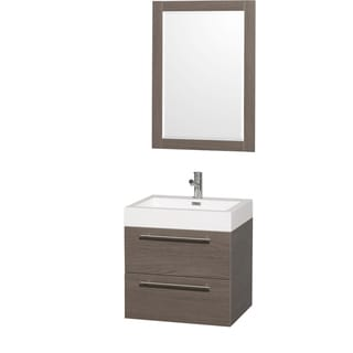 Wyndham Collection 'Amare' 24-inch Grey Oak/ White Acrylic Resin Sink Vanity Set