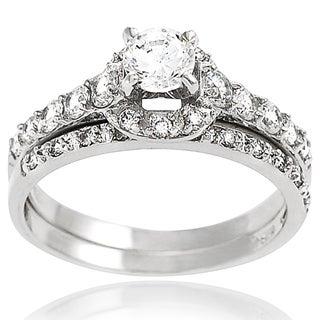 Tressa Sterling Silver Pave-set Cubic Zirconia Bridal-style Ring Set