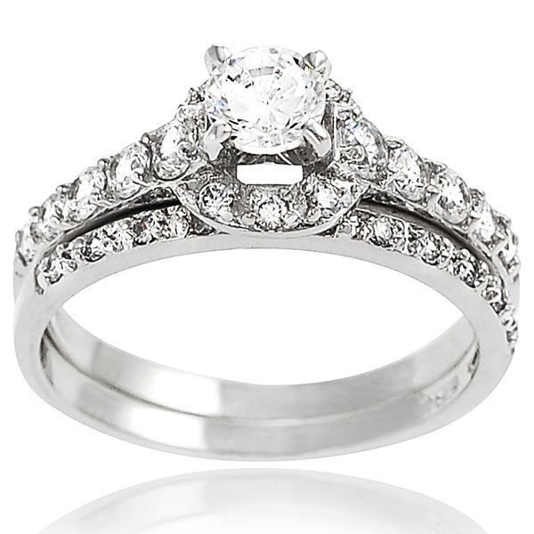 Journee Collection Sterling Silver Pave-set Cubic Zirconia Bridal-style Ring Set