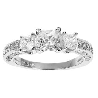 Journee Collection Sterling Silver Prong-set Cubic Zirconia Engagement-style Ring