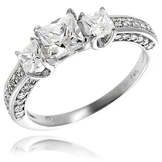 Tressa Sterling Silver Prong-set Cubic Zirconia Engagement-style Ring