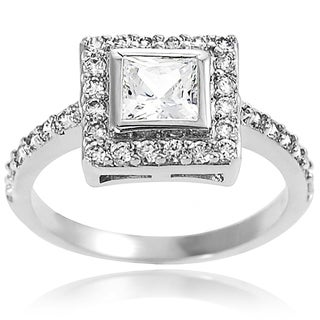 Tressa Sterling Silver Square-cut Cubic Zirconia Engagement-style Ring