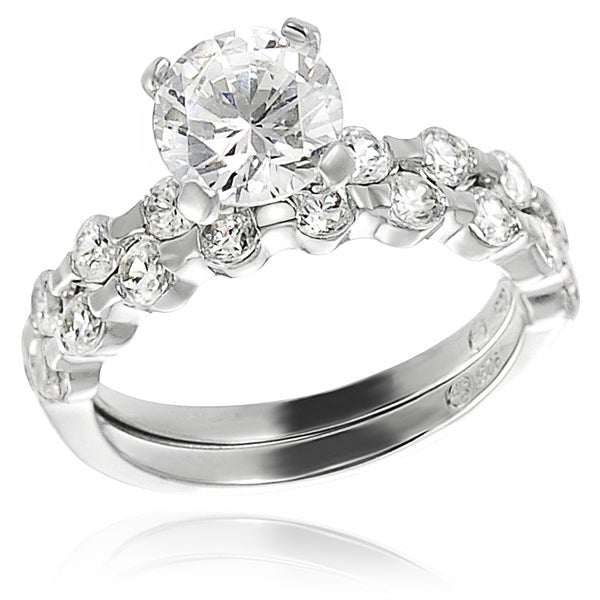Journee Collection Sterling Silver White Cubic Zirconia Bridal-style Ring Set