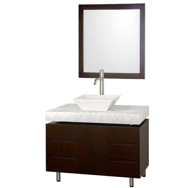 Wyndham Collection 'Malibu' 36-inch Espresso/ Carrera Marble/ White Sink Vanity Set