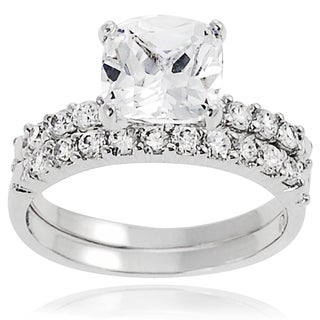 Tressa Sterling Silver Round-cut Prong-set Cubic Zirconia Bridal-style Ring Set