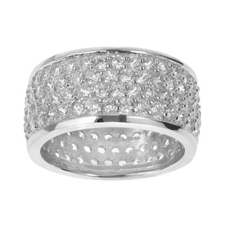 Journee Collection Sterling Silver Pave-set Cubic Zirconia Engagement-style Ring