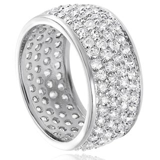 Tressa Sterling Silver Pave-set Cubic Zirconia Engagement-style Ring