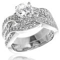Tressa Sterling Silver Round-cut Cubic Zirconia Bridal and Engagement-style Ring Set