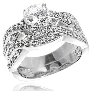 Tressa Sterling Silver Cubic Zirconia Bridal and Engagement-Style Ring Set