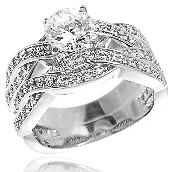 Journee Collection Sterling Silver Round-cut Cubic Zirconia Bridal and Engagement-style Ring Set