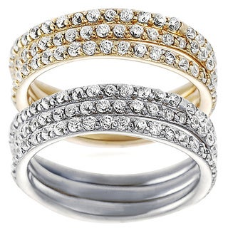Tressa Collection Sterling Silver Cubic Zirconia Bridal 3-piece Ring Set