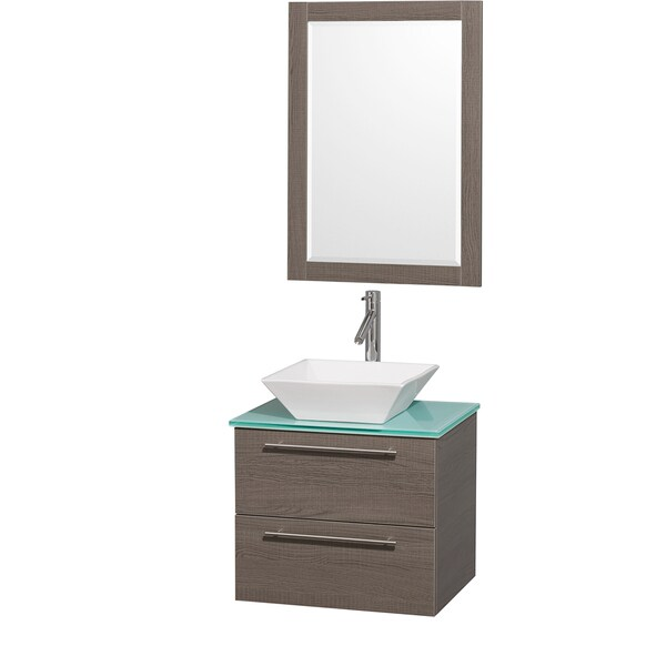 Wyndham Collection 'Amare' 24-inch Grey Oak/ Green Top/ White Sink Vanity Set