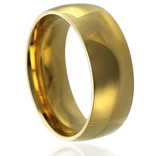 Journee Collection Goldtone Stainless Steel Wedding Band (8 mm)